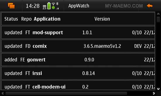 AppWatch for Nokia N900 / Maemo 5