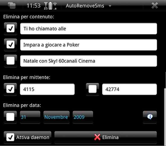 AutoRemoveSMS for Nokia N900 / Maemo 5
