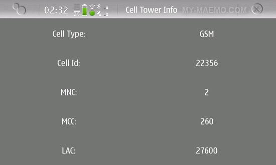 Tower Cell Info for Nokia N900 / Maemo 5