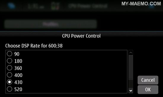 CPU Power Control for Nokia N900 / Maemo 5