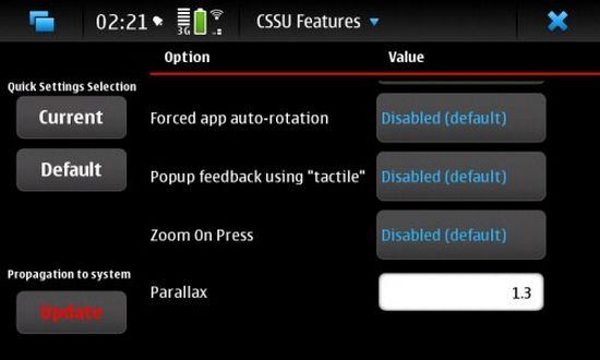 CSSU Features Configuration for Nokia N900 / Maemo 5