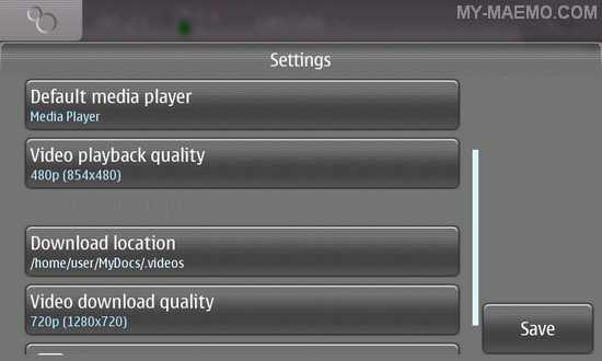 cuteTube for Nokia N900 / Maemo 5