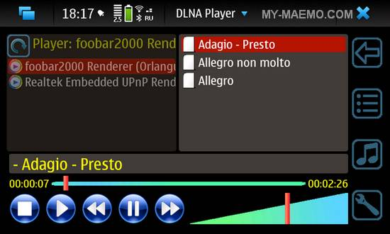 DLNA Player for Nokia N900 / Maemo 5