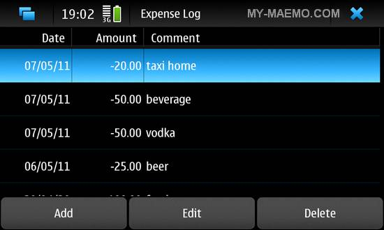 Expense Log for Nokia N900 / Maemo 5