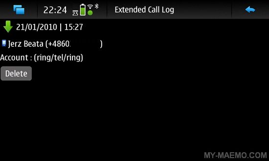 Extended Call Log for Nokia N900 / Maemo 5