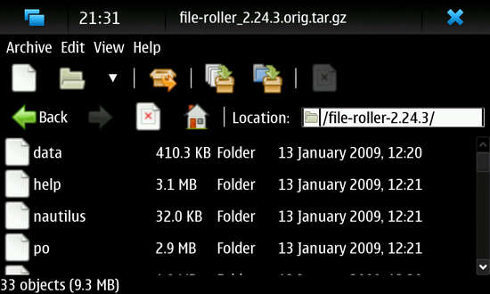 File-Roller for Nokia N900 / Maemo 5