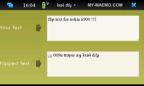 Flip Text for Nokia N900 / Maemo 5