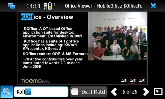 FreOffice for Nokia N900 / Maemo 5
