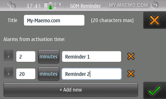 GOM Reminder for Nokia N900 / Maemo 5