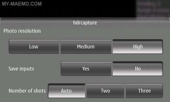HDRcapture for Nokia N900 / Maemo 5