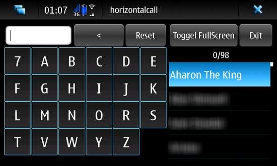 Horizontal Call for Nokia N900 / Maemo 5