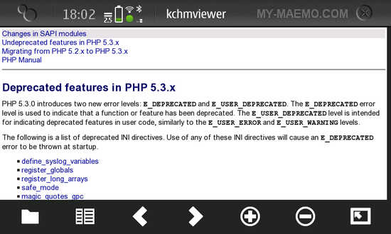 KchmViewer for Nokia N900 / Maemo 5