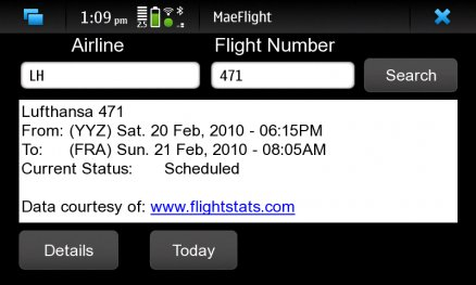 MaeFlight for Nokia N900 / Maemo 5