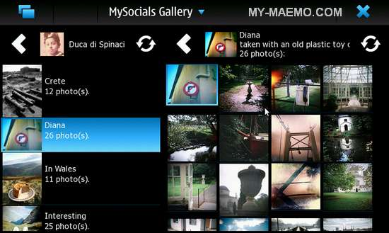 MySocials-Gallery for Nokia N900 / Maemo 5