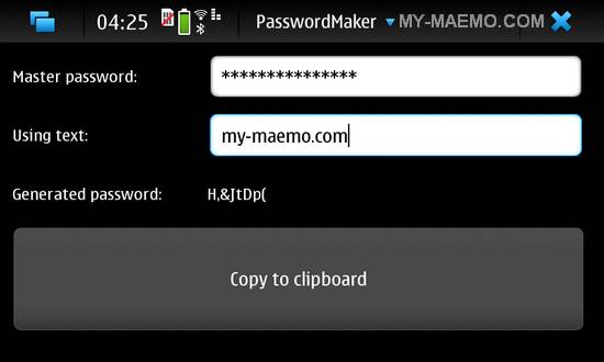 Passwordmaker for Nokia N900 / Maemo 5