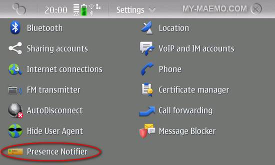 Presence Notifier for Nokia N900 / Maemo 5