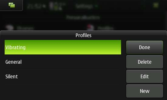 ProfilesX Extended Profiles Manager for Nokia N900 / Maemo 5