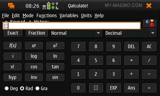 Qalculate for Nokia N900 / Maemo 5