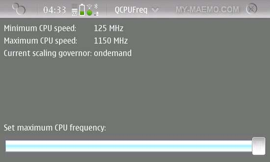 QCPUFreq for Nokia N900 / Maemo 5