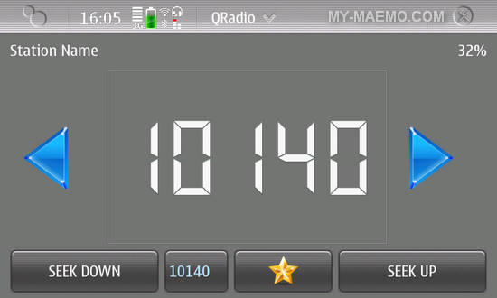 QRadio for Nokia N900 / Maemo 5