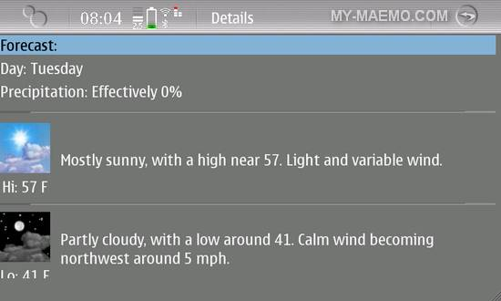 QtWeather for Nokia N900 / Maemo 5