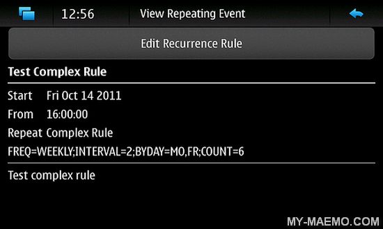 Recurring Calendar Events Editor for Nokia N900 / Maemo 5