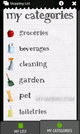 Shopping List for Nokia N900 / Maemo 5