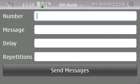 SMS Bomb for Nokia N900 / Maemo 5
