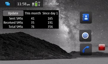 SMSCounterWidget for Nokia N900 / Maemo 5