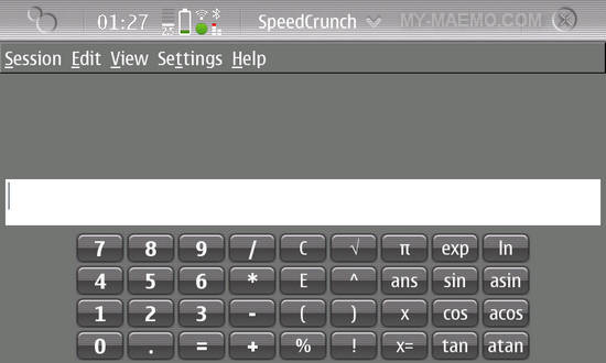 SpeedCrunch for Nokia N900 / Maemo 5