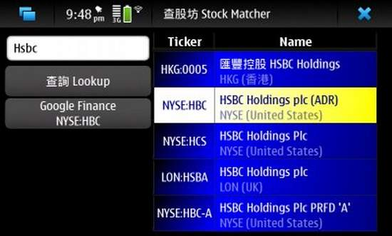 Stock-Matcher for Nokia N900 / Maemo 5
