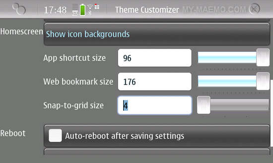 Theme Customizer for Nokia N900 / Maemo 5