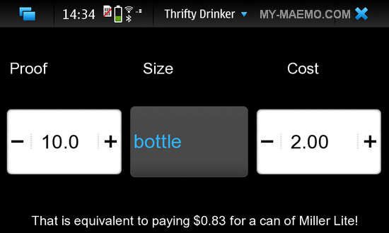 Thrifty Drinker for Nokia N900 / Maemo 5
