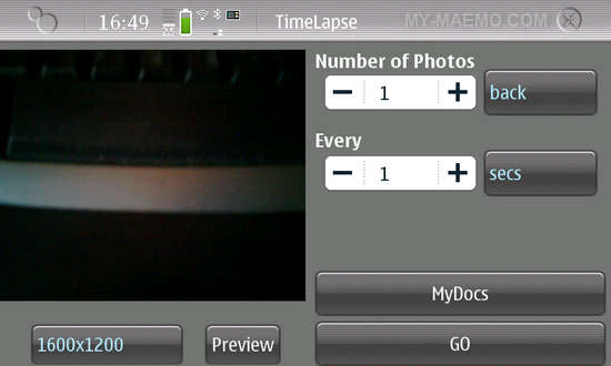 TimeLapse for Nokia N900 / Maemo 5