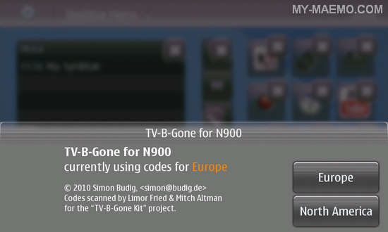 TV-B-Gone for Nokia N900 / Maemo 5