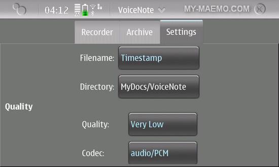 VoiceNote for Nokia N900 / Maemo 5