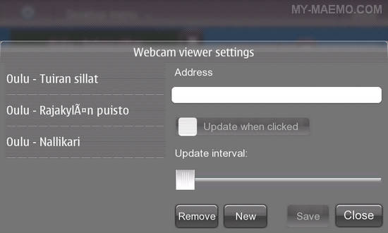 Webcam Viewer for Nokia N900 / Maemo 5
