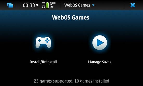 WebOS Games Manager for Nokia N900 / Maemo 5