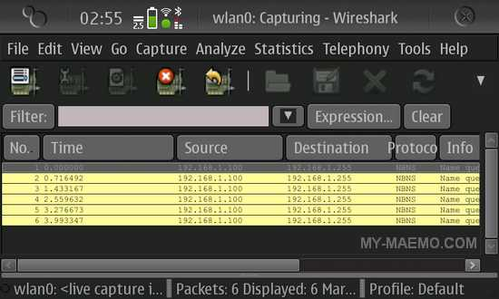Wireshark for Nokia N900 / Maemo 5