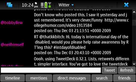 Witter for Nokia N900 / Maemo 5