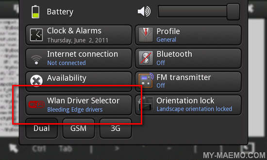 WLAN Driver Selector Applet for Nokia N900 / Maemo 5