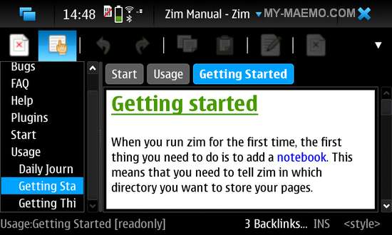 Zim for Nokia N900 / Maemo 5